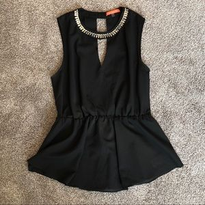 Black V Neck Top with Crystal Collar